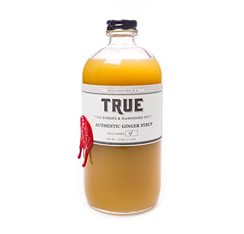 True Syrups and Garnishes Old Fashioned Authentic Ginger Syrup for Cocktails, 16 oz - Organic Ginger Beer