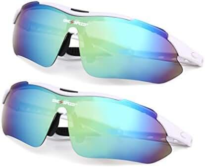 Polarized Sunglasses for Men & Women - Sport Sunglasses (BONUS: Value 2 Pack) - Best Cycling Sunglasses | Running Sunglasses | Golf Sunglasses - Up Your Game with OneSpeed Sports Sunglasses