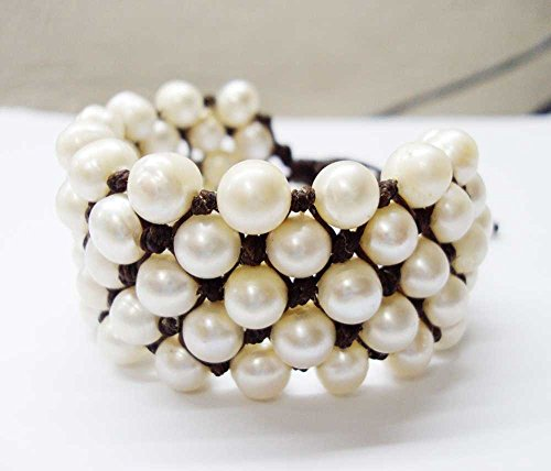 5 Row White freshwater pearl bracelets,real pearl bracelets,7-8 mm pearl ,women bracelets,wedding bracelets,fashion pearl