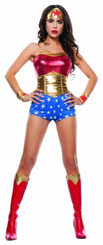 Starline Women's Lady Power Sexy Cosplay 4 Piece Costume Set, Red/Gold, Large