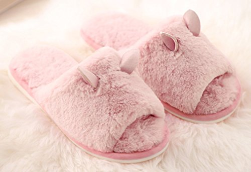 Cattior Open Toe Furry Ladies Slippers House Indoor Slippers Pink gZYCEPrB3