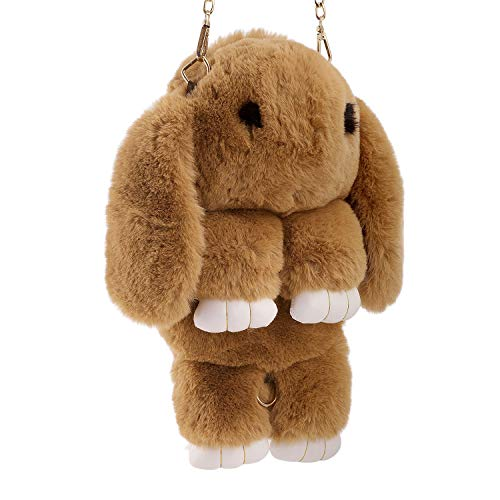 Ylucky Kids Rabbit Faux Fur Backpack Bunny Hare Shoulder Bags Plush Doll Crossbody Handbag Knapsack Wallet Purse Cellphone Coin Key Card Satchel Travel Pouch Beauty Fashion Dress Up Toy ()