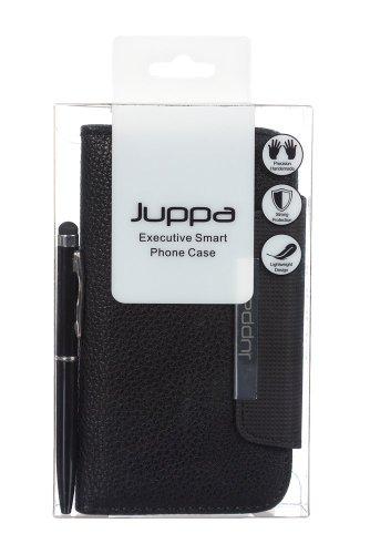 Juppa® Executive Ledertasche umfasst Kartenhalter, Displayschutzfolie, Tragegurt und Eingabestift Kugelschreiber für Samsung Galaxy S4 GT-I9500 - Schwarz