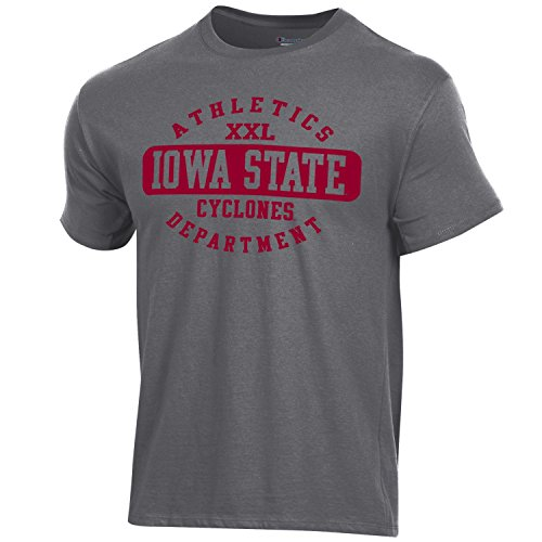(Champion NCAA Iowa State Cyclones Men's Ringspun Short Sleeve T-Shirt, Granite Heather, X-Large)