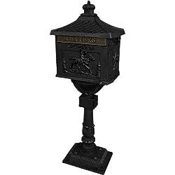 Mailbox Postal Box Security Cast Aluminum Post/pedestal Heavy Duty Black