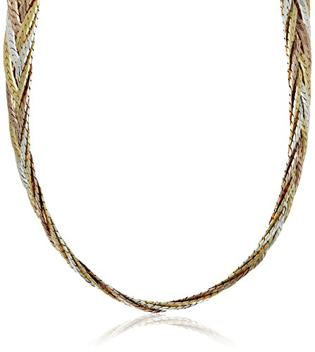 Sterling Silver Italian Tri-Color Seven-Strand Braided Herringbone Chain Necklace, 16