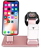 SJTS Charging Stand for Apple Phone Charging Dock for Airpods Charger Station for Apple Watch 4/3/2/1 3-in-1 Aluminum Charging Bracket Charger Stand for iPhone X/XS/XS Max/XR/8/7/6/5/SE(Rose Gold)