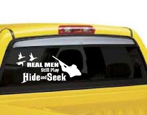 REAL MEN HIDE AND SEEK DUCK HUNTING DUCKS OUTDOORS VINYL WALL DECAL VINYL LETTERING HOME AUTO WINDOW STICKER 8
