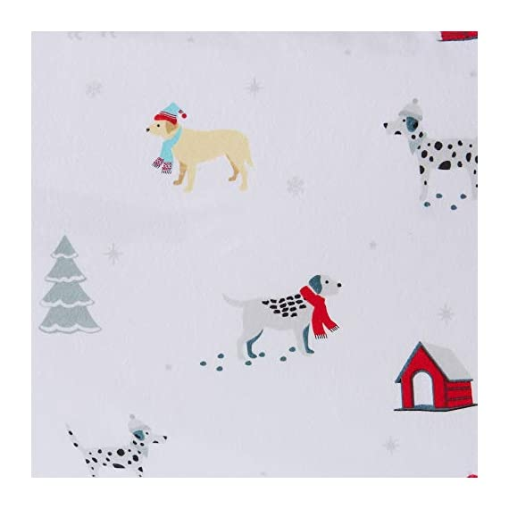 Great Bay Home Extra Soft Printed 100% Turkish Cotton Flannel Sheet Set. Warm, Cozy, Luxury Winter Bed Sheets. Belle Collection (Twin, Pups in The Snow) - TOP QUALITY, AFFORDABLE PRICE: Our premium flannel bed sheets enhance the comfort level of any bed! Mutli-purpose, versatile and extremely high-quality at an unbeatable value. Each set includes 1 fitted sheet, 1 flat sheet and 2 pillowcases (1 pillowcase for Twin size). SUPER SOFT WARMTH: Feel the difference in our 170 GSM 100% Turkish Cotton FLANNEL. These are the BEST WINTER SHEETS you'll ever own! They're SOFT, COZY, WARM, GENTLE and BREATHABLE. Stay warm and toasty on the coldest nights and sleep better than ever. Available in a variety of PRINTED PATTERNS for you to choose from. PERFECT FIT EVERY TIME: These DEEP POCKET sheets come with fully elasticized fitted sheets that fit mattresses up to 17 inches deep. See below for exact measurements. EASY CARE AND EASY WASH: Machine washable, wrinkle resistant, fade resistant, shrink resistant & pill resistant. Extremely DURABLE and LONG LASTING. - sheet-sets, bedroom-sheets-comforters, bedroom - 41 F5vQz4qL. SS570  -