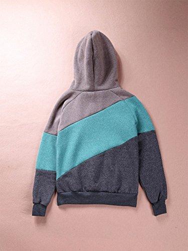Pullover Donne Cappuccio Felpa Splicing Colore Cappuccio con Verde GTKC con Moda nSwqR7Ra0