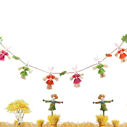 Coxeer Party Banner Rabbit Scarecrow Hanging Banner Hanging Decor for Easter