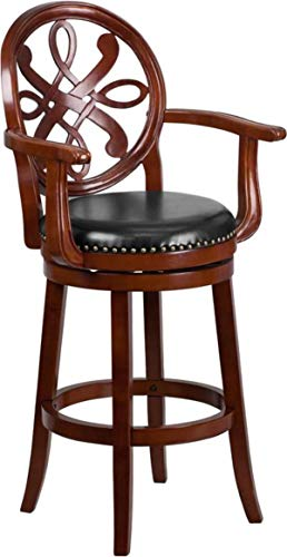 (MPR 30'' High Cherry Wood Barstool with Arms and Black Leather Swivel Seat)