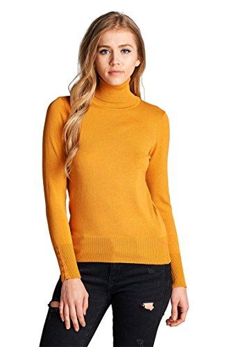 [Vialumi Women's Turtleneck Buttoned Long Sleeve Sweater Mustard Large] (Long Sleeve Woven Sweater)