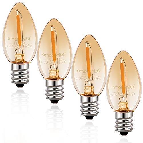 Candelabra Base Incandescent Lamp - Night Light Bulbs, Emotionlite Amber C7 LED Bulb, 7W Equivalent, E12 Candelabra Base, Incandescent Lamp Replacement, 0.7 Watt, 2200K, 4Pack