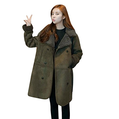 Wawer Women Winter Warm Artifical-Lambswool Suede Daily Long Sleeve Thick Long Plus Button Coat Jacket Green