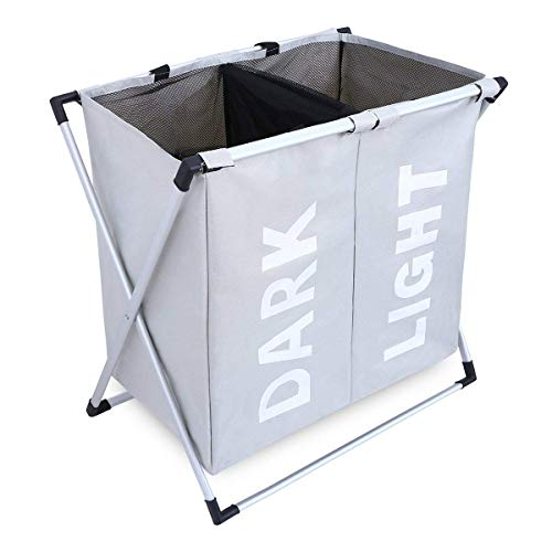 undry Basket X-Frame Double Laundry Hamper with Aluminum Frame Durable Dirty Clothes Bag for Bathroom Bedroom Home (Grey) ()