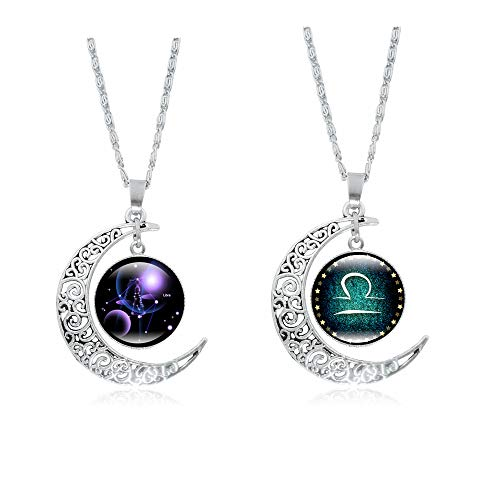 Frodete 12 Constellations Cresent Moon Necklace Women Jewelry 12 Zodiac Sign Tag Pendant Necklace Charm Set Birthday Gifts (♎ Libra ()