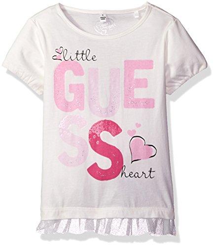 GUESS Little Girls' Short Sleeve Metallic Detailed Logo Tee Shirt, Whipped Cream, 5 -