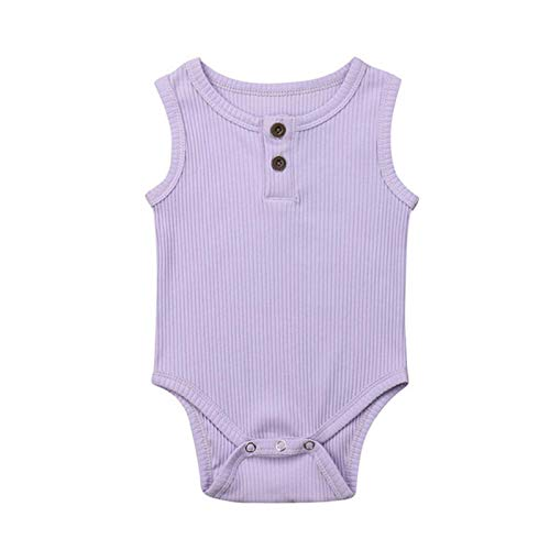 (Clearance! Newborn Baby Girl Summer Cotton Sleeveless Romper Bodysuit Button Solid Stripe Outfits Jumpsuit 0-24 Months)