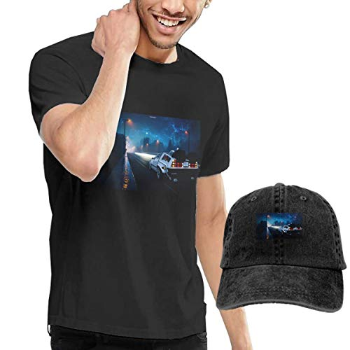 Nutmix Back to The Future Men's Casual Short Sleeve T-Shirts and Adjustable Baseball Hat Costume Set Black -