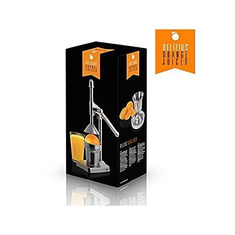 Compra Delizius Deluxe Orange Juicer Exprimidor Manual con Palanca, Acero Inoxidable, Plata, 13 x 36 x 18.5 cm en Amazon.es