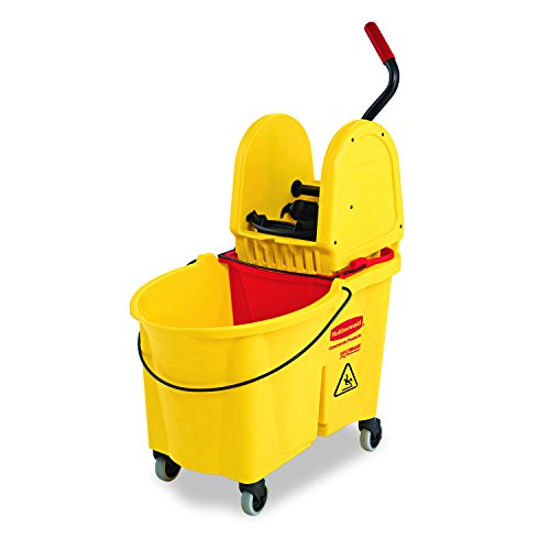 Rubbermaid Commercial WaveBrake Mop Bucket and Down Press Wringer Combo, 44-Quart, Yellow, FG757688YEL by Rubbermaid Commercial Products