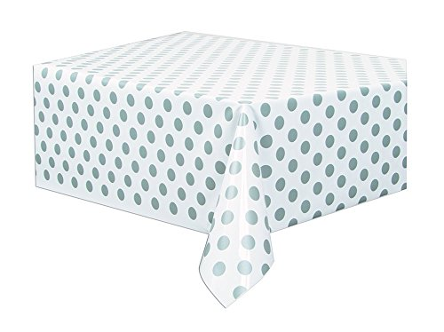 Silver Polka Dot Plastic Tablecloth, 108