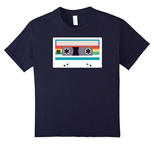 [Kids Cassette Tape Costume Shirt 80s 90s Party Outfit T-Shirt 6 Navy] (90s Themed Outfits)