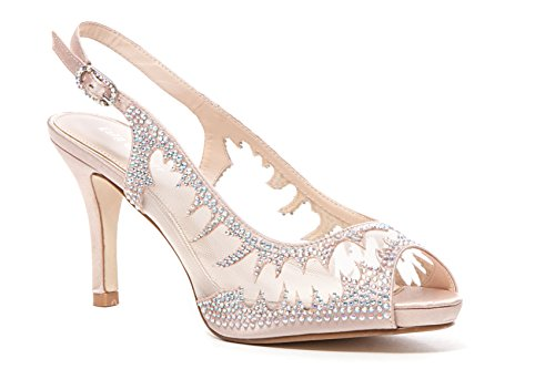 Lady Couture Women's MESH Platform Sling Back, Spicy Champagne 40 -