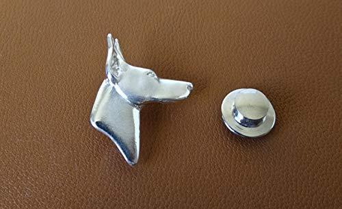 Small Sterling Silver Doberman Pincher Head Study Lapel Pin