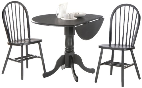 International Concepts 3-Piece 42-Inch Dual Drop Leaf Pedestal Table with 2 Windsor Chairs, Black Finish - 3 Piece Pedestal