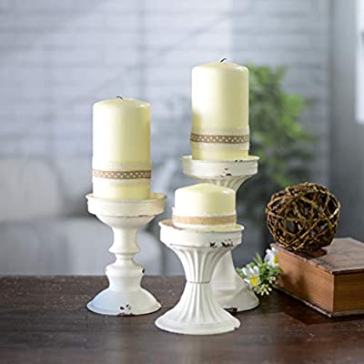 Set of 3 Metal Candle Holder Antique White Distressed Assorted Sized Pillar Holders