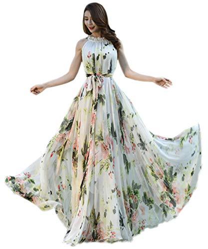 MedeShe Women's Summer Floral Long Beach Maxi Dress Lightweight Sundress (X-Large, White Floral)