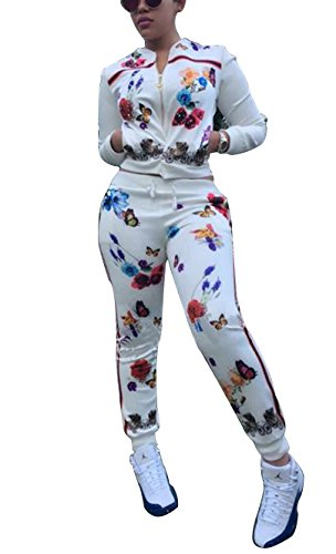 Dreamparis Women's Casual Rose Butterfly Print Short Jacket and Tracksuit Pant Outfit Set Two Pieces Jumpsuit White Medium (Butterfly Short Set)