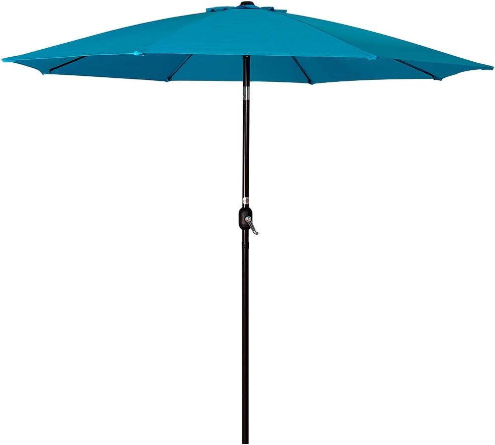 Sundale Outdoor 9 Feet Aluminum Market Umbrella Table Umbrella with Crank and Push Button Tilt for Patio, Garden, Deck, Backyard, Pool, 8 Fiberglass Ribs, 100 Polyester Canopy Lake Blue