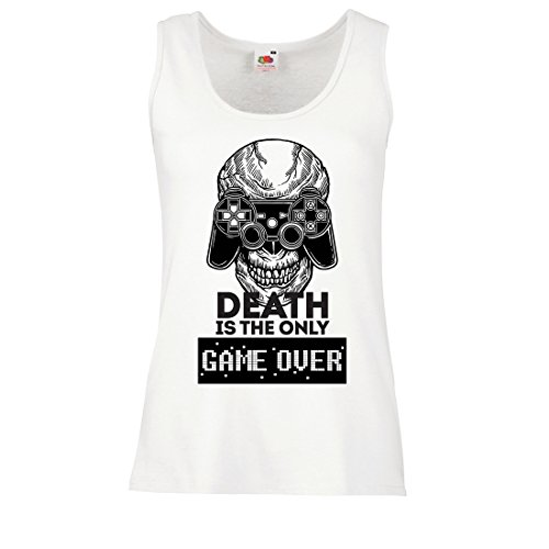 lepni.me Womens Tank Tops Game Over Cool Skull Face Gamer, Gaming Skeleton, Funny Game Quotes (Large White Multi Color)]()