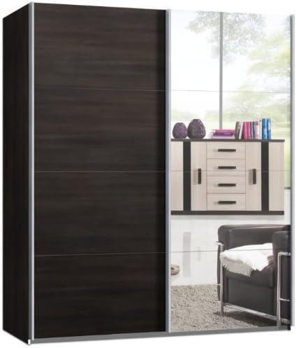 Armario de puertas correderas, puerta corredera, aproximadamente 150 cm, roble Marrón con espejo, armario: Amazon.es: Hogar