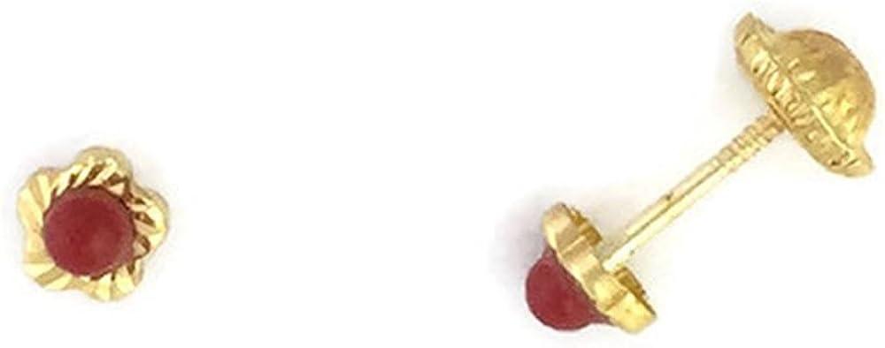 Pendientes de bebé de oro de 18 Klts M.A-PEN-56 (Flor y coral)