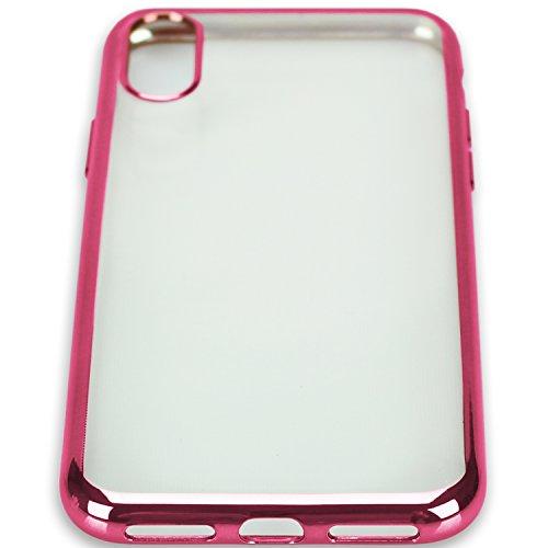 iPhone X Hülle ROSEGOLD VPOWER Schutzhülle ROSE GOLD Glanz Rand Transparent Silikonhülle Silikon TPU Case Cover