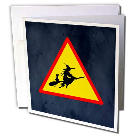 3dRose Sandy Mertens Halloween Designs - Witch Crossing with Black Cat and Broom Warning Sign, 3drsmm - 1 Greeting Card with Envelope (gc_290246_5) -