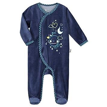 Pyjama bébé velours bleu Pyjama Party - Taille - 1 mois (56 cm) Petit Béguin