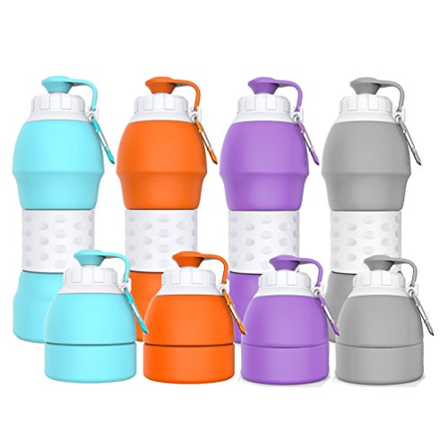 Collapsible Water Bottle Best Outdoor Sports Travel Accessories 19.6oz(580ML) Food Grade Silicone Material. [Explosion-Proof] [BPA Free][FDA Approval]