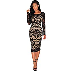 Women Club Dress ,Letdown Women Sexy Bodycon Bandage Evening Cocktail Party Long Sleeve Lace Dress (S)