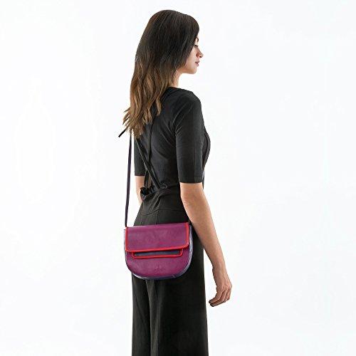 DUDU Damen Umhängetasche aus echtem Nappa Leder bunt multicolor mit Klappe und Magnetverschluss Woods