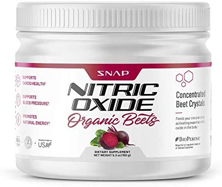 Beet Root Powder Organic Nitric Oxide Booster by Snap Supplements – Blood Flow Circulation Superfood Support Muscle Heart Health – BCAA, L Arginine, L Citrulline 5.3 oz