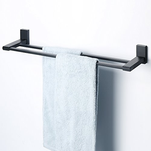 Replacement Towel Bar Post - SAYAYO Double Towel Rail Towel Bar Towel Holder/Rack 24-Inches Wall Mounted, SUS 304 Stainless Steel Matte Black, AB72702GZ