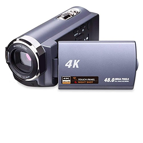 4K Camera Camcorder Video Camera WiFi Camcorder Ultra HD 48MP Digital Camera 3.0'' Touch Screen with Night Vision and Pause Function