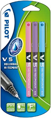 Pilot V5 - Bolígrafo roller (3 unidades), color rosa, morado y ...