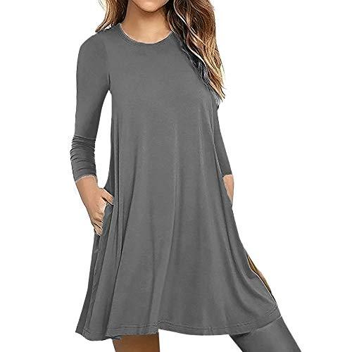 Women Solid Long Sleeve Round Neck Sweatshirt Bat Wing Shirts Pocket Pullover Loose Tunic Shirts Blouse Tops Gray (Sleeveless Baseball Uniform)