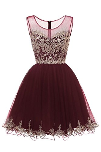 (WDING Short Cocktail Party Dress Tulle Gold Applique Junior Homecoming Dress Maroon,2)
